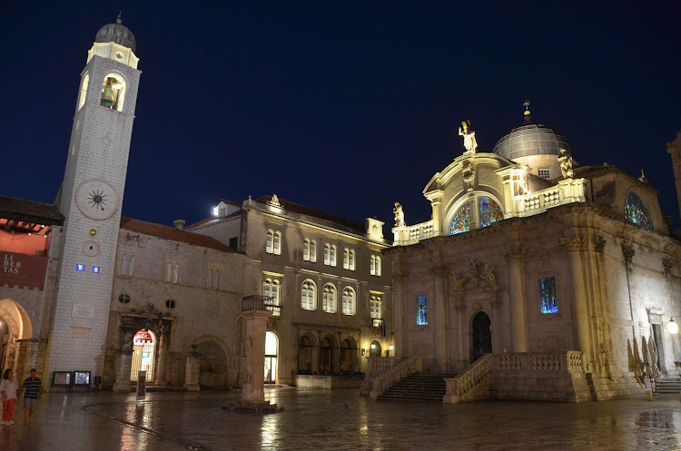 Cathedral at nightfall in Dubrovnik, Croatia.