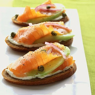 Rye Toasts with Smoked Salmon, Cucumber, and Red Onion.