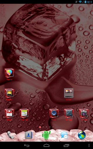 Ice Cube Red GO Launcher Theme