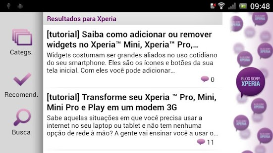 Blog Sony Xperia - screenshot thumbnail