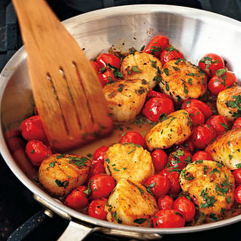 Blackened Sea Scallops, Green Onions, Roasted Tomatoes Recipes ...