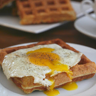 Savory Cheddar Waffles with Fried Eggs