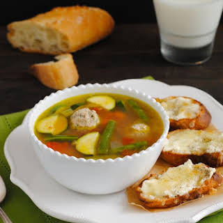 Turkey Meatball & Vegetable Soup with Cheesy Crostini.
