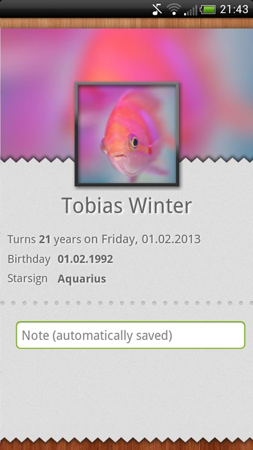 Birthdays- screenshot