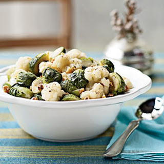 Steamed Brussels Sprouts and Cauliflower with Walnuts Recipe
