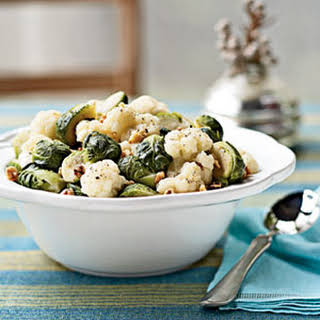 Steamed Brussels Sprouts and Cauliflower with Walnuts.