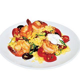 Quick Greek Couscous with Shrimp