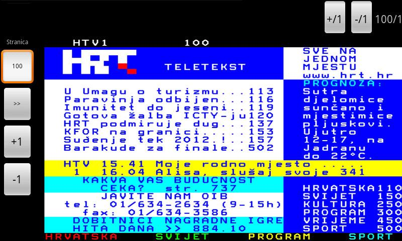 HRT Teletekst - screenshot
