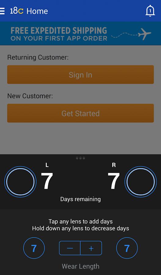1800CONTACTS App - screenshot