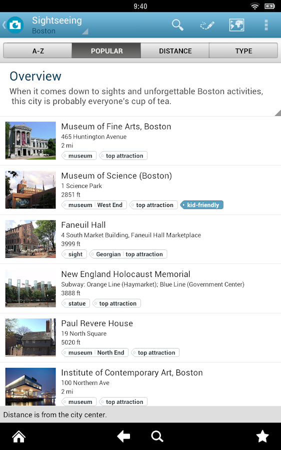 Boston Travel Guide- screenshot