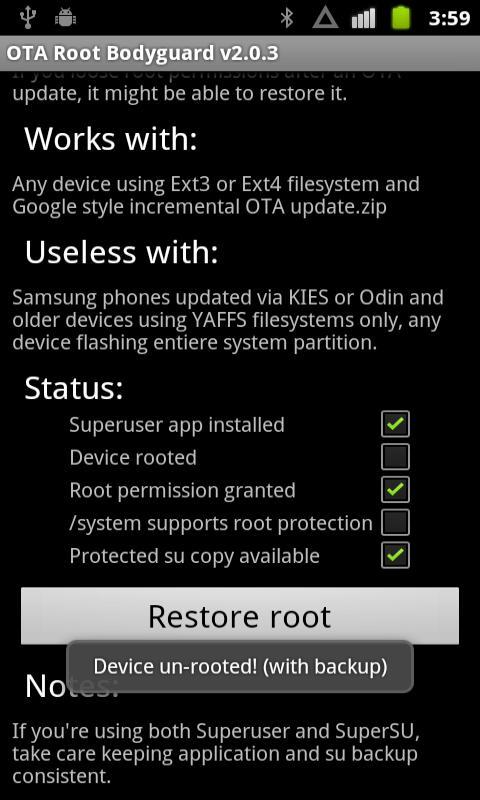 OTA Root Bodyguard - screenshot