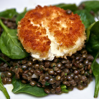 Spinach Salad with Lentils and Crispy Goat Cheese