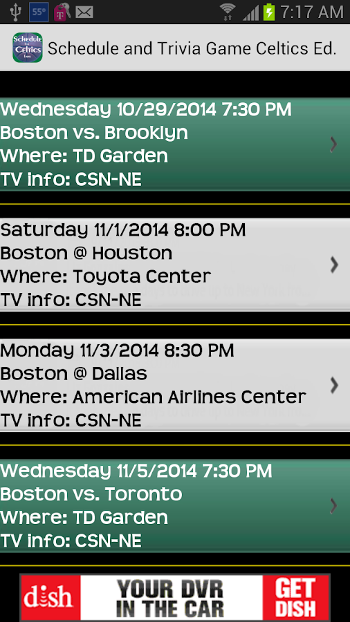 Schedule Boston Celtics fans - screenshot