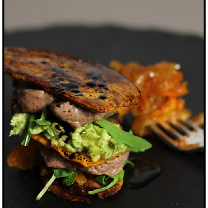 Sweet Potato Napoleon with Lamb and Sweet and Sour Chutney. Recipe