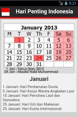 【免費教育App】Hari Penting & Libur Nasional-APP點子