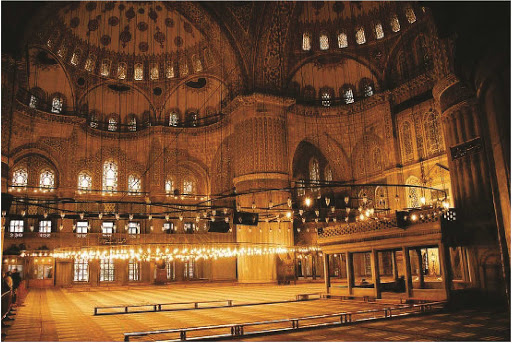 Sultan-Ahmed-Mosque-Istanbul-interior - The prayer area of the beautiful Sultan Ahmed Mosque, or Blue Mosque, in Istanbul, Turkey.