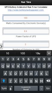 UPS Battery Run Time Estimator Screenshot 2
