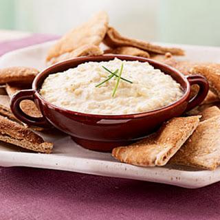 Artichoke, Leek, and Goat Cheese Dip with Garlic Pita Chips