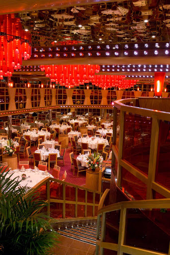 Carnival-Dream-Scarlet-dining-hall - Dine on steaks, grilled chicken and other fare at the Scarlet restaurant, the larger of Carnival Dream's two main dining rooms.