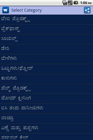 Kannada Grocery Shopping List