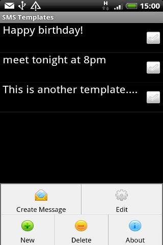 SMS Templates - screenshot