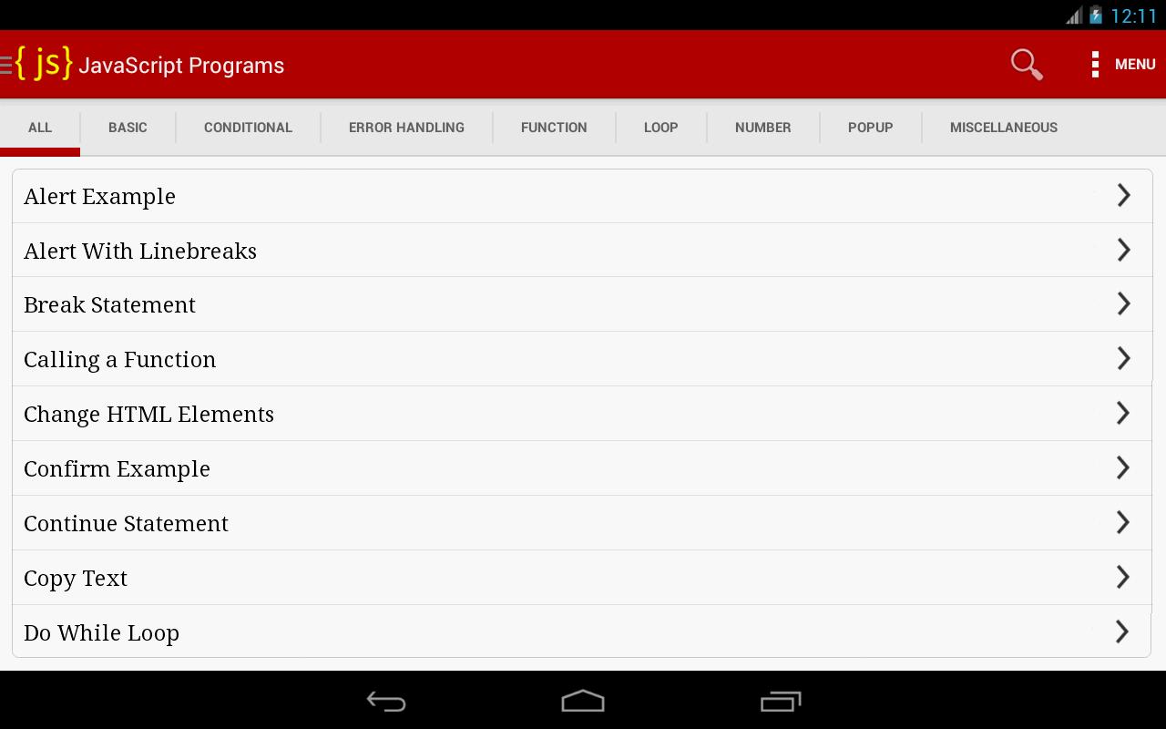 Javascripts - Javascript Programs Output Screenshot