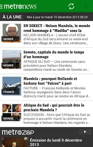 Metronews pour smartphone