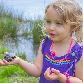 I found a turtle by Patti Cooper - Babies & Children Children Candids ( child, toddler, pond, turtle, kid,  )