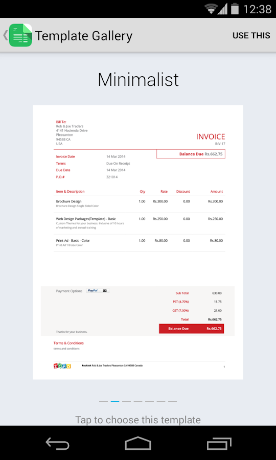 Zoho Invoice and Time Tracking - screenshot