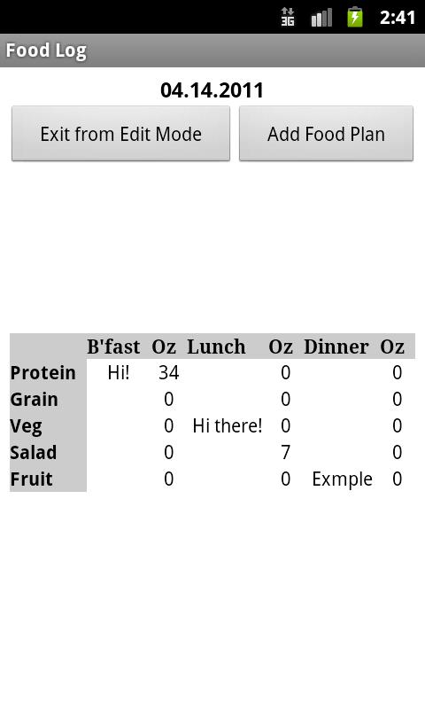Food Log - screenshot