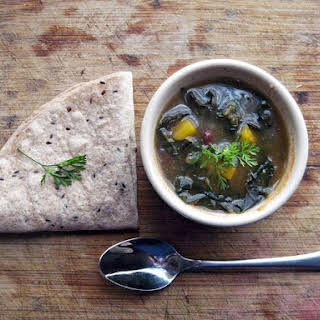 Kale and Black bean chile verde.