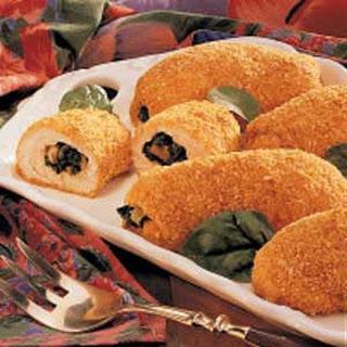 Breaded Spinach-Stuffed Chicken.