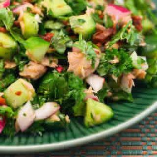 Tuna Salad with Sun-Dried Tomatoes, Cucumbers, Parsley, and Basil.