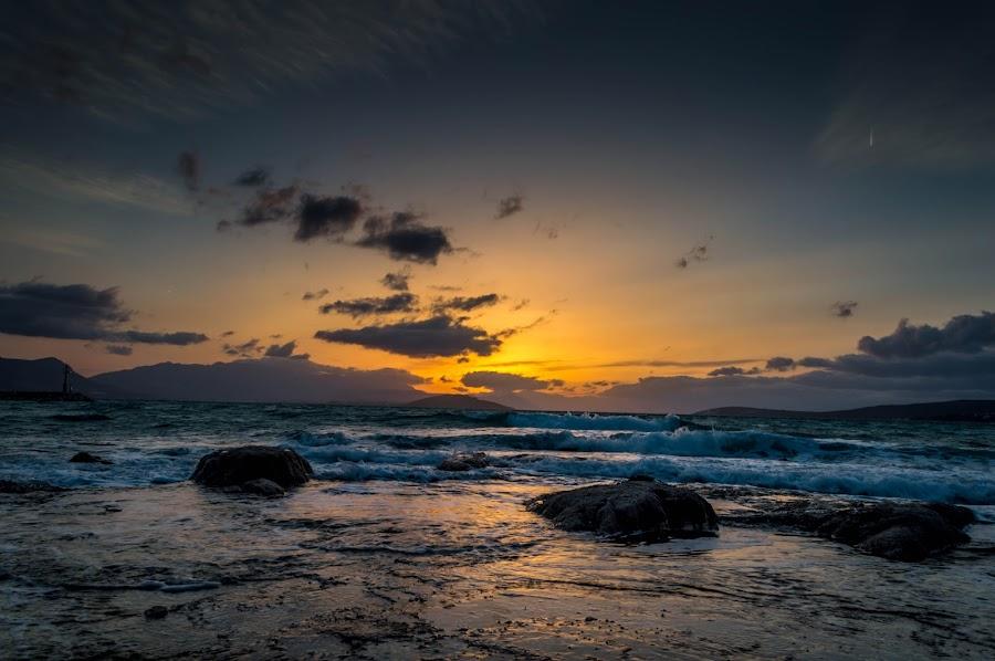 Shore by Darko Maretić - Landscapes Waterscapes ( water, clouds, shore, wind, waterscape, waves, sea, rock, beach, coast, sky, wave, cloud, sunrise, rocks )