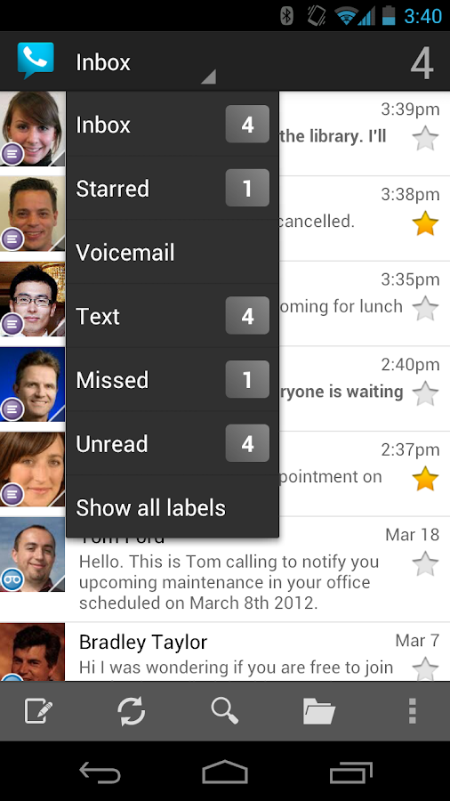 Google Voice - screenshot