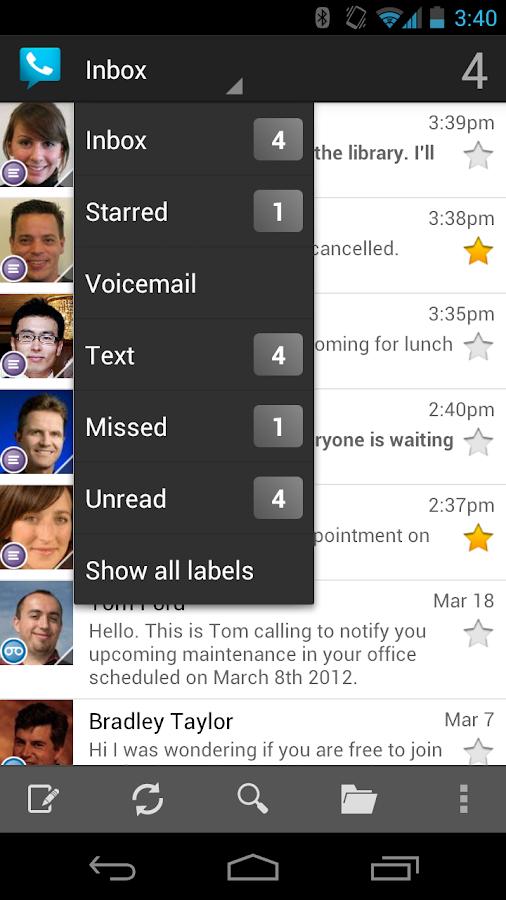 Google Voice– снимак екрана