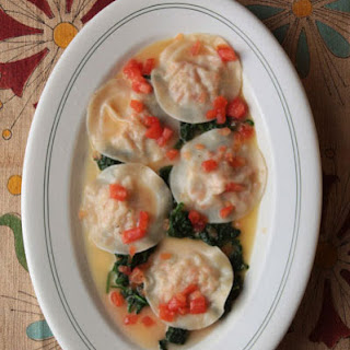 Shrimp Ravioli with Spinach and Ginger