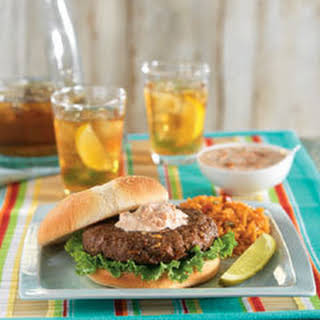 Lipton Onion Burgers With Creamy Salsa & Spanish Rice.