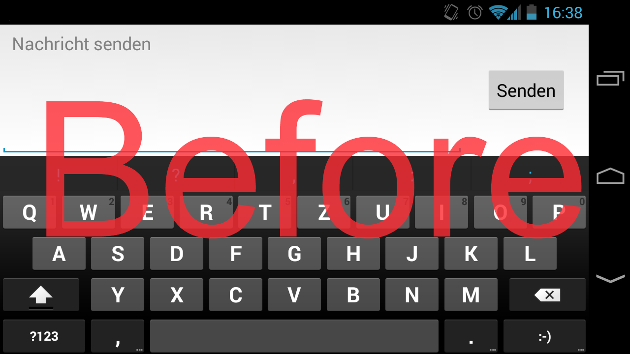 No Fullscreen Keyboard Xposed - screenshot