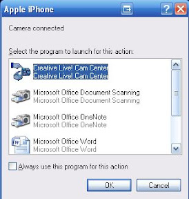 iPhone : Disable Camera Connected Message in Windows XP
