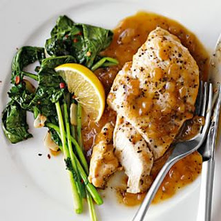 Chicken with Meyer Lemon and Peppercorn Sauce.