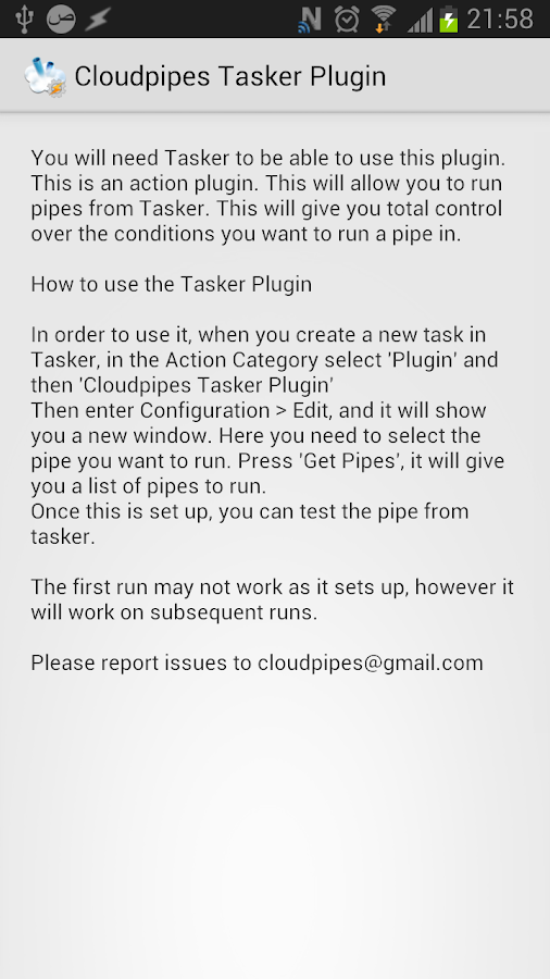 Cloudpipes Tasker Plugin- screenshot