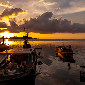 Sunsets by Ted Khiong Liew - Landscapes Sunsets & Sunrises ( #sunsets #boat #sea )