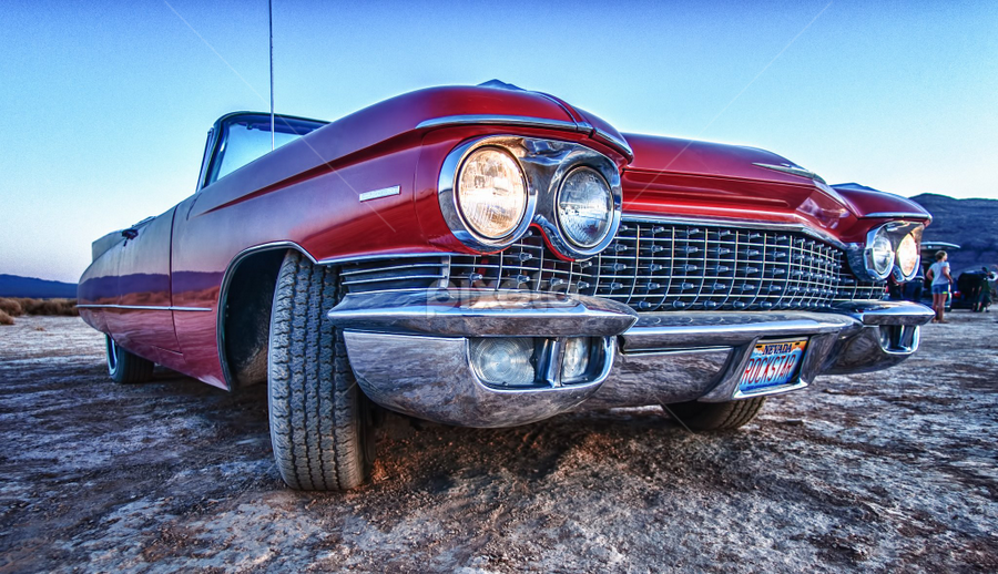 Cadillac in the desert by Thierry Mallet - Transportation Automobiles ( desert, cadillac, nevada, sunset, rock star,  )