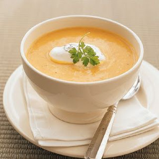 Roasted Carrot and Chestnut Soup with Parsley Cream