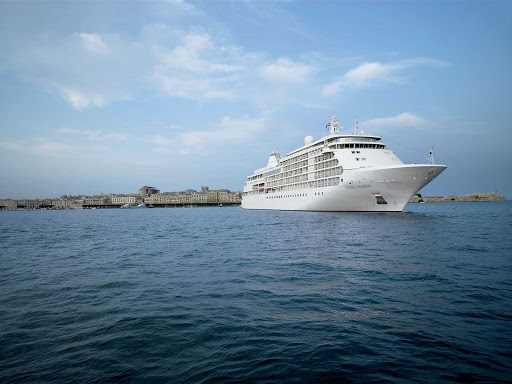 Silver_Shadow_in_Italy - Silver Shadow off the coast of Siracusa, Sicily, Italy. The ship combines destination eye candy and on-board creature comforts.