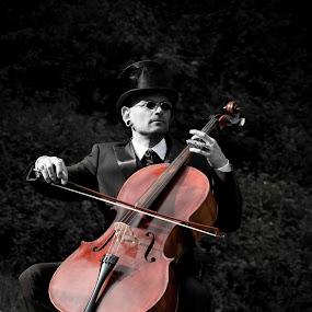 The Man 6 The Cello by Manuela Kägi - People Musicians & Entertainers ( retro, musician, cello, man )