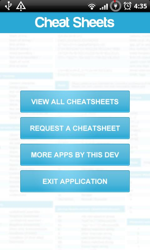 Cheat Sheets- screenshot