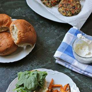 Quinoa Veggie Burgers with Whipped Feta.