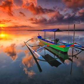 double skies by I Made  Sukarnawan - Landscapes Sunsets & Sunrises ( sunset, sunrise, morning, landscape, sun )